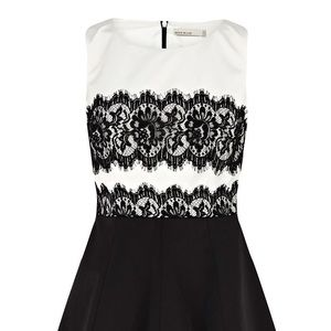 Kare Millen Black & White Dress Lace Trim